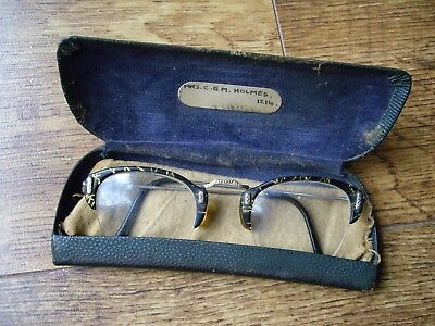 VINTAGE 1940's/1950's GLASSES / SPECTACLES WITH CASE & CLOTH: EYE GLASS.
