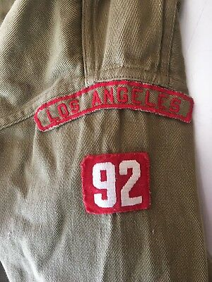 Vintage 30's 40's BSA Boy Scouts Green Long Sleeve Shirt W/ Patches Los Angeles