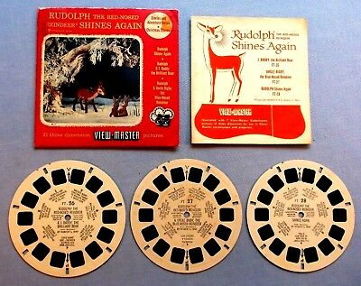 Viewmaster Reels - Rudolph The Red Nosed Reindeer Shines Again - Good Condition