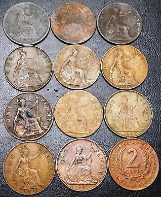 Lot of 12x Great Britain UK Coins - Various Dates and Denominations
