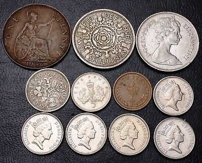 Lot of 11x Great Britain Coins - Various Dates and Denominations