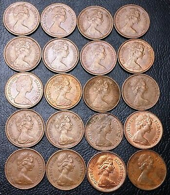 Lot of 20x Great Britain Coins - 1/2 New Penny - Date Range: 1971 to 1982