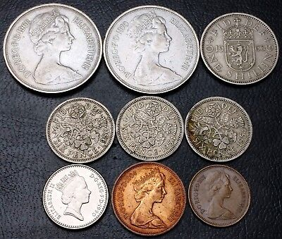 Lot of 9x Great Britain UK Coins - Various Dates and Denominations