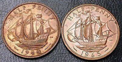 Lot of 2x Great Britain Half Penny Coins - Dates: 1944 and 1965