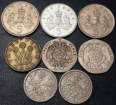 Lot of 8x Great Britain UK Coins - Various Dates and Denominations