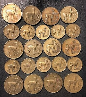 Old Peru Coin Lot - LLAMA COINS - EXCELLENT SERIES - 22 Cool Coins - Lot #118