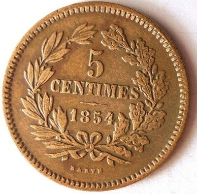 1854 LUXEMBOURG 5 CENTIMES - AU - High Quality Scarce Coin - Lot #118