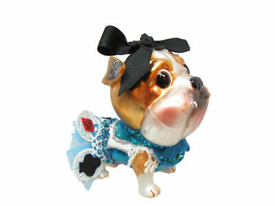 * New DECEMBER DIAMONDS Glass Ornament ENGLISH BULLDOG Alice in Wonderland Dog