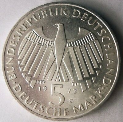 1973 G GERMANY 5 MARKS - RARE - Excellent Silver Crown Coin - Lot #118