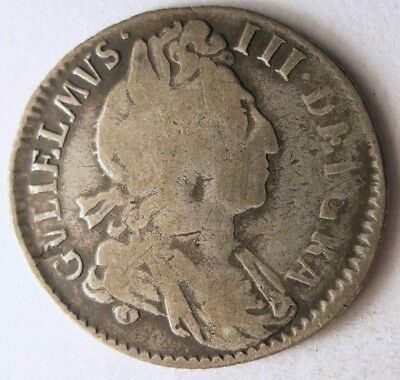 1697 GREAT BRITAIN 6 PENCE - Excellent Grade - VERY RARE Silver Coin - Lot #118