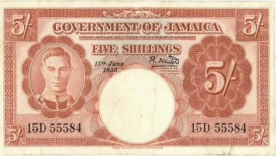 Jamaica 5 Shillings Currency Banknote 1950
