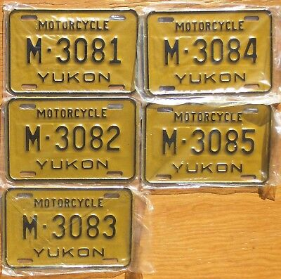 Five Yukon Motorcycle License Plates Number Tag Plate Lot