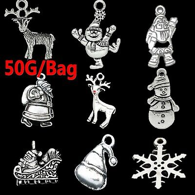 Wholesale 50g Bulk Lots Tibetan Silver Mix Charm Pendants Jewelry DIY Craft Xmas
