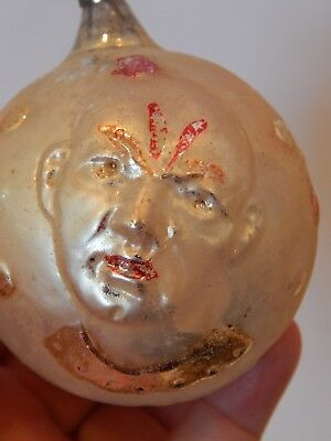 Antique Christmas Ornament Two Sided Clown Face Blown Glass Double