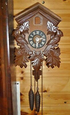 lovely regula cuckoo clock clean look working swiss made weights pendulum 60s