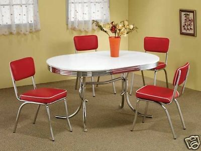 1950s STYLE CHROME RETRO DINING TABLE SET & RED CHAIRS DINING ROOM FURNITURE SET