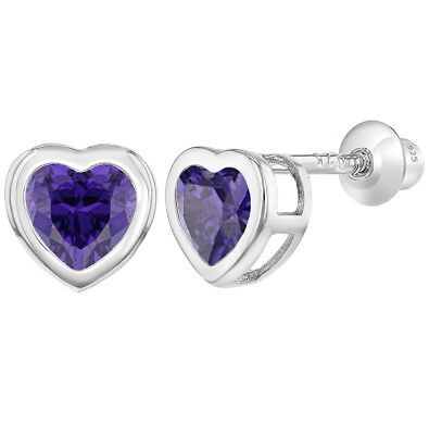 02c25179e 925 Sterling Silver Heart Screw Back Earrings Toddlers Baby Kids Purple CZ