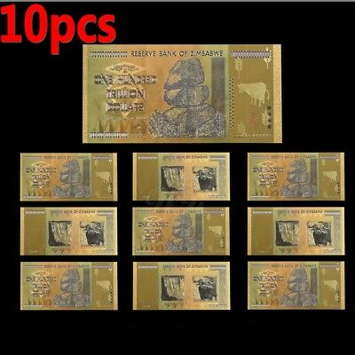 New 10ps Zimbabwe 100 Trillion Dollars Banknotes Color Gold Bill /w Certificate