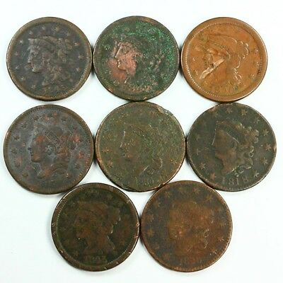 Group Lot of 8 Early U.S. Large Cents - Exact Lot Shown 3022