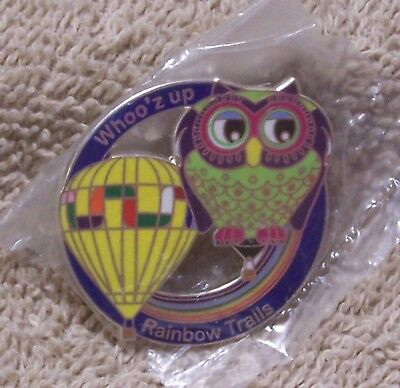Whoo'z Up Rainbow Trails Balloon Pin