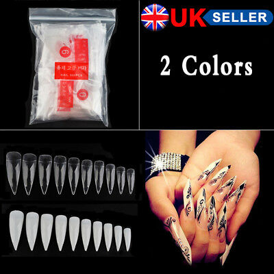 600x False Nail Tips - Natural Clear Stiletto Almond Display Pre-Pinched Vamp Y