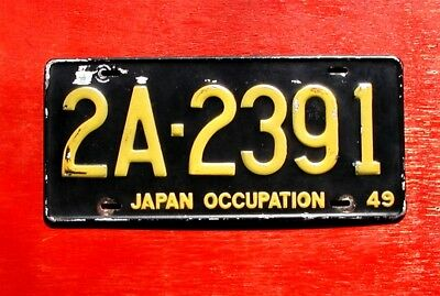 1949 Japan Occupation US Forces 2A-2391 License Plate