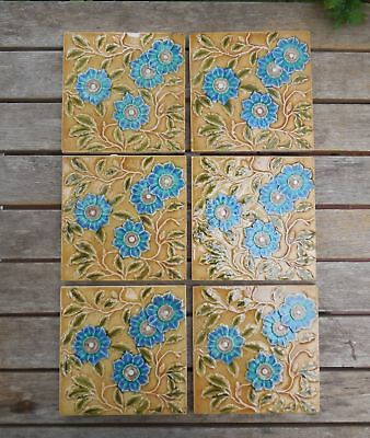 Antique Blue Raised Flowers Majolica Victorian Fireplace Tiles x 6 c1880's