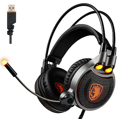 SADES R1 7.1 Surround USB Stereo PC Gaming Headset Vibration LED Mic Headphones
