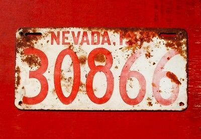 1919 Nevada Original 30866 Passenger Car License Plate