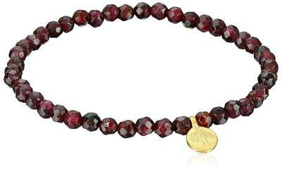 Satya Jewelry Red Garnet Gold Plated Tree of Life Stretch Bracelet