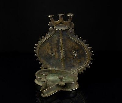 An Unusual 19th Century Cast Brass Butter Lamp - Hindu India.