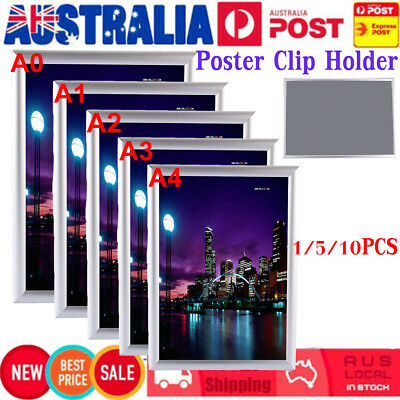 A0 A1 A2 A3 A4 1-10Pc PREMIUM Aluminum Snap Poster Frame Sign Holder Wall Silver