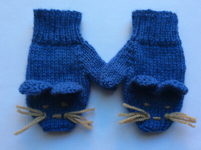 Kids Hand Knitted Mouse Mittens To Fit 2-4 Years
