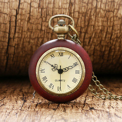 Red Wood Edge Roman Numeral Quartz Pocket Watch Necklace Pendant Xmas Gifts