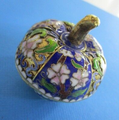 Vintage CLOISONNE' Enamel Over Brass PUMPKIN TRINKET BOX Blue and Green
