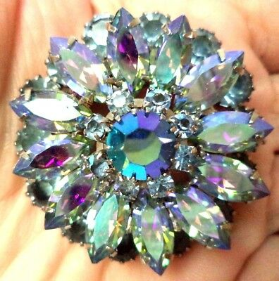 "Vintage Estate High End Ab Blue Layered Rhinestone Flower 1 3/4"" Brooch!!! G194X"