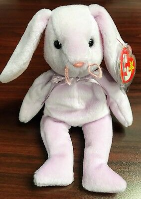 """TY Retired Beanie Baby """"FLOPPITY"""" the Purple Bunny - w/Heart Tag Protector"""
