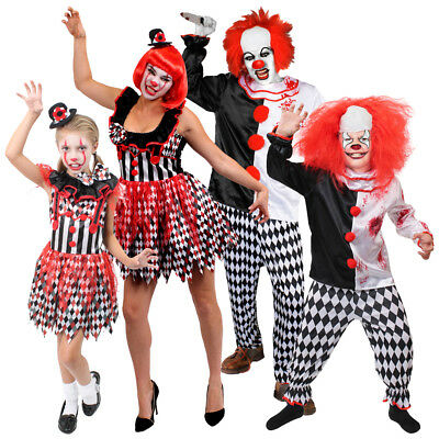 Adults Kids Evil Killer Clown Family Halloween Circus Horror Fancy Dress