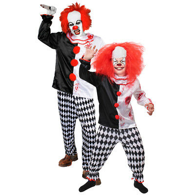 Adults Kids Evil Killer Clown Boys Mens Halloween Circus Horror Fancy Dress