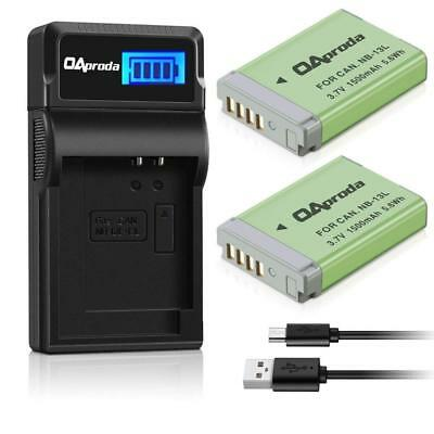 OAproda 2 Pack Fully Decoded NB-13L Battery and Smart LCD Display USB...