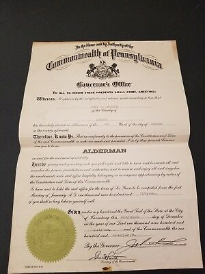 Large c1951 Pennsylvania Governor's Office Alderman Document with State Seal