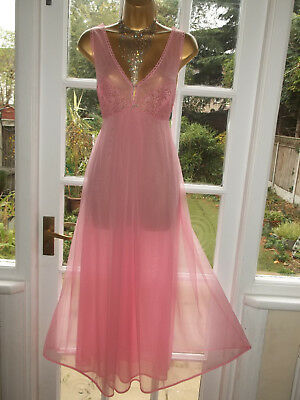 """Vintage 1960s/70s Double Layer Pink Nylon Lacy Nightie Nightdress Gown 36"""""""