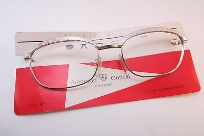 Vintage 60s white gold filled eyeglasses frames American Optical 1/20 12K GF NOS