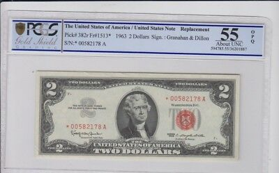 Red Seal U.S. Note $2 1963 STAR PCGS Gold Shield graded about Unc 55 OPQ