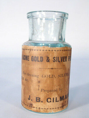 Gilman Acme Gold & Silver Polish For Cleaning Glass Tin &c Labeled  Bottle