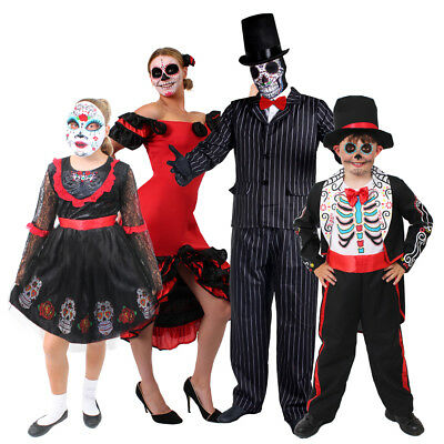 Adults Kids Family Day Of The Dead Costume Skeleton Ghost Suit Dress Fancy Dress