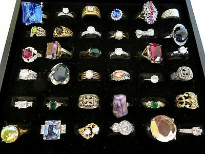 Spectacular Lot of Thirty-Six (36) Vintage Costume Jewelry Cocktail Rings