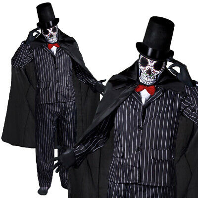 Adults Day Of The Dead Costume Mens Halloween Groom Pinstripe Tuxedo Fancy Dress