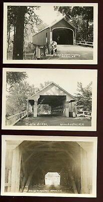 1940's RPPC  Post Card NH Covered Bridges Swanzey Alstead Winchester 5 PCS Clean