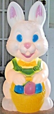 Vintage Easter Bunny Rabbit Blow Mold Light With Easter Eggs In A Yellow Basket
